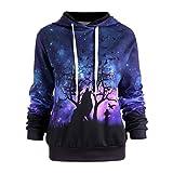 (US) Wolf Digital Printing Hoodie,Leyorie Women Sweater Baseball Starry Coats Sweatshirt (Purple, M)