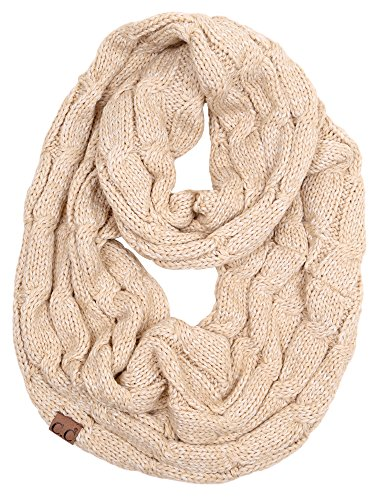S1-6800-60 Funky Junque Infinity Scarf - 2 Tone Beige (#25) (Lightweight Ribbed Beanie)