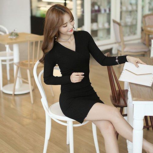 Sitengle Mujer Vestido Suéter de Punto V-cuello Rodilla de Manga Larga de Punto Negro