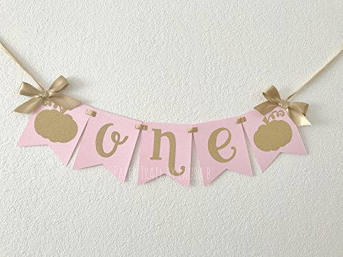 Little Pumpkin High Chair Banner with Cursive Font. 1st Birthday High Chair Banner. Pink and Gold Party Decorations. Gold Glitter Decor. (Pumpkin Chair)