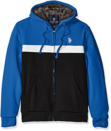 U.S. Polo Assn. Mens Color Blocked Fleece Hoodie with Faux Sherpa Lining
