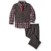 Nautica Dressy Vest Set, Red Check, 6-9 Months