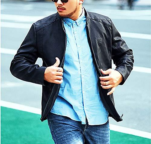In Mengyu Uomo Giubbotto Fit Alta Nero Giacche Slim Pu Elegante Qualità Pelle Smart 5UBAU