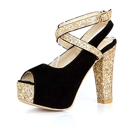 Zapatos de Lentejuelas de Las Mujeres Peep-Toe Sandalias de Plataforma Zapatos de Correas Cruzadas Negro/Azul/Rojo Talla 34-39 Negro