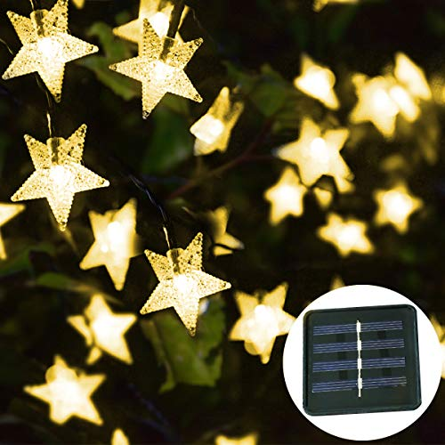 LAMPDREAM 30ft 50LED Solar Powered String Lights Outdoor, Waterproof Solar Star Fairy String Lights for Patio, Courtyard, Christmas Tree, Garden, Yard Decor, Warm White