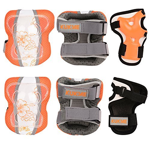 Sports Protective Gear safety pad Safeguard (Knee Elbow Wrist) Support Pad Set equipment for Adult roller bicycle BMX bike skateboard extreme sports bogu protector Guards Pads (Yellow+White, M)
