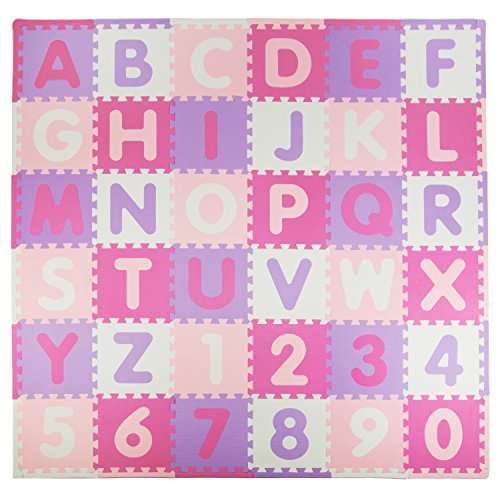 "Tadpoles Soft EVA Foam 36 Piece ABC Playmat Set, Pink/Purple, 74""x 74"" (36 Sq Feet)"