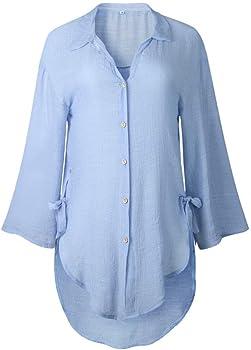 Lunule Blusas Mujer Camisa de Manga Larga Camisa Larga con Botones Sueltos para Mujer Camisa de Vestir de algodón Camiseta Blusa Tops Mujer Casual: Amazon.es: Ropa y accesorios