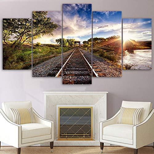 MMLZLZ 5 Consecutive Paintings Modern Picture HD Poster Wall Art l Room 5 Panels Sunset Blue Sky Railroad View Home Decoration Canvas Painting Print Photos