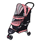 ROODO Escort 3 Wheel Pet Stroller for Cats/Dogs,Lightweight, Compact, Portable, Practical, Removable,Support 30 Pound Animals(Orange)