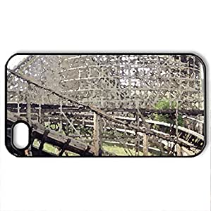 Wooden Rollercoaster - Case Cover for iPhone 4 and 4s (Amusement Parks Series, Watercolor style, Black)