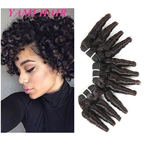 YAMI 8a Brazilian Virgin Funmi Hair 3 Bundles Romance Curl Hair Bundles 300g Short Curly Weave Unprocessed Brazilian Human Hair Extensions 100g/pc Full Head Natural Black (10