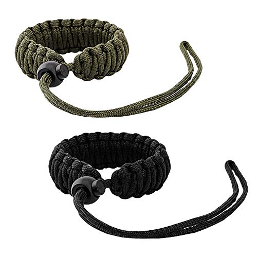 MoKo Universal Paracord [2 Pack], Nylon Braided Adjustable Camera Hand Grip Strap for Video Camcorder, Binoculars and Nikon/Canon/Sony/Minolta/Panasonic/SLR/DSLR Digital Cameras, Black/Army Green