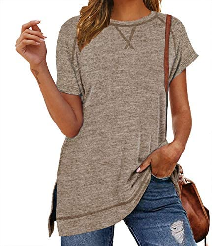 LERUCCI WOMEN'S ROUND NECK SHORT SLEEVE T-SHIRT CASUAL LOOSE TUNIC TOPS WITH SIDE SPLIT