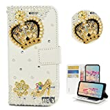 STENES iPhone SE Case - Stylish - 3D Handmade Bling Crystal Crown Girls High Heel Flowers Design Wallet Credit Card Slots Fold Stand Leather Cover for iPhone 5/5S/SE - Gold