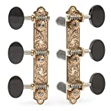 Sloane Classical Guitar Tuning Machines with Leaf Bronze Baseplates, Ebony Knobs and Black String Rollers