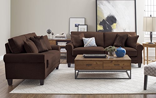 """Truly Home Whitney Sofa 73"""" in Windsor Brown - Bring full size comfort into any size space Sink into deep, comfortable modern seating Upgraded single platform base for extra strength and durability - sofas-couches, living-room-furniture, living-room - 51m4U1rRnOL -"""