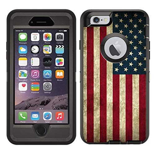 Teleskins Protective Designer Vinyl Skin Decals/Stickers for Otterbox Defender iPhone 6 Plus/iPhone 6S Plus Case -Grunge USA American Flag Design Patterns - only Skins and not Case (Iphone 6 Skins American Flag)
