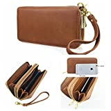Hoxis Multi-purpose Generous Faux Texture Leather Purse Organizer Double Zip Around Long Wallet with Wristlet(brown)