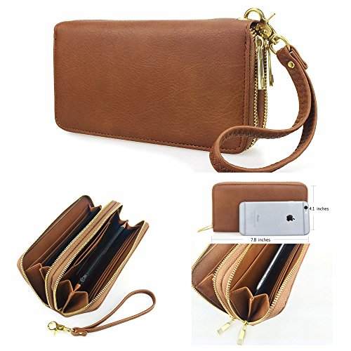 Hoxis Multi-purpose Generous Faux Texture Leather Purse Organizer Double Zip Around Long Wallet with Wristlet(brown) (Wristlet Brown)