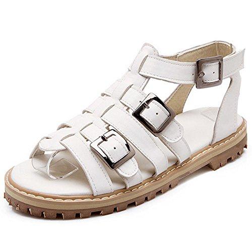 TAOFFEN Mujer Zapatos Moda Zapatillas Abiertas Gladiador Sandalias De Hebilla Blanco