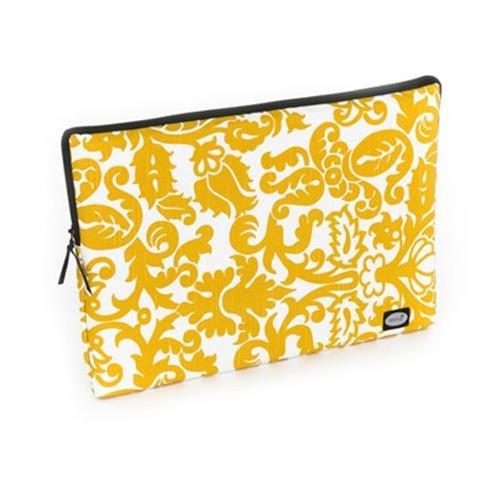 Mod Yellow and White Damask Large Laptop Sleeve