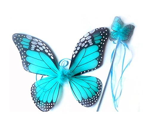 Mozlly 18 inch Turquoise Monarch Butterfly Wings & Wand 2pc Accessory #110010 - Blue Monarch Butterfly Wings Costume