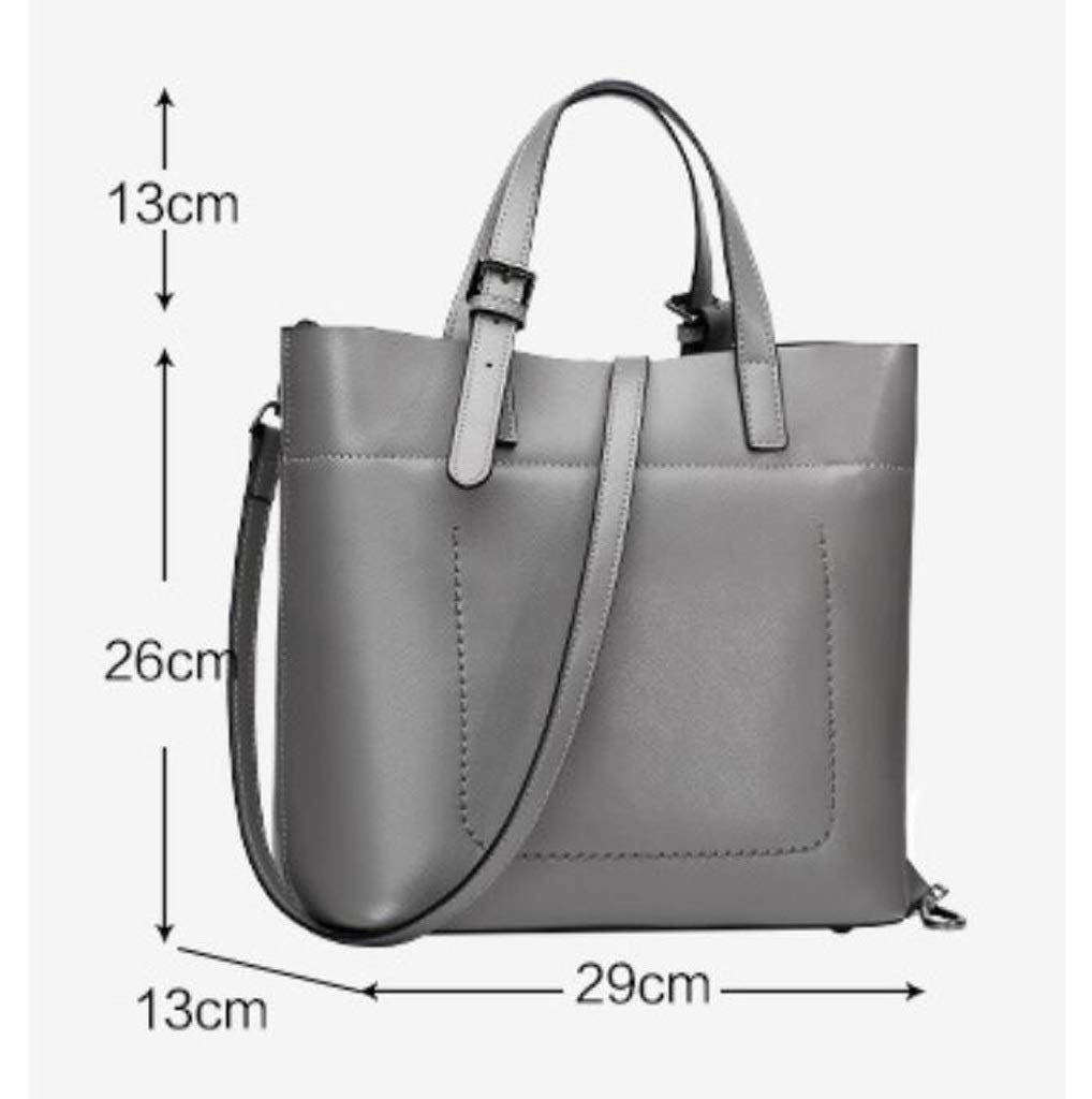 Color : Gray, Size : OneSize ALLHM Genuine Leather Women Top Handle Spring and Summer Satchel Handbag Tote Shoulder Bag Purse Bag Crossbody Bag Designer