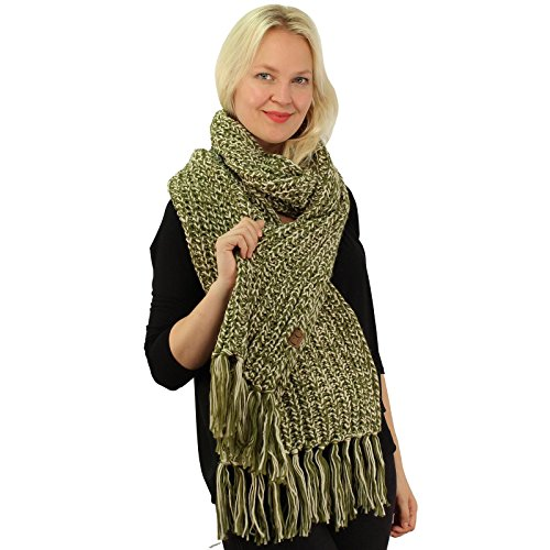 CC 2tone Mix Knit Soft Super Chunky Thick Long Big Large Cowl Fringe Scarf Olive (Green Chunky Scarves)