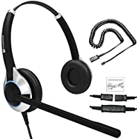Deluxe Double Ear Noise Canceling Headset For Call Center / Office & Cable For Cisco IP Phones 7931G 7940 7941 7942 7945 7960 7961 7962 7965 7970 and M12, M22 Amplifiers