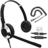 Deluxe Double Ear Noise Canceling Headset and QD U10PS Cable Compatible with Yealink SIP-T19P T20P T21P T22P T26P T28P T32G T41P T38G T42G T46G T48G, Snom and Grandstream IP Phone