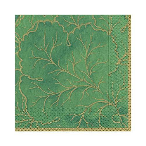 (Caspari Gilded Majolica Paper Luncheon Napkins in Green, Two Packs of 20)