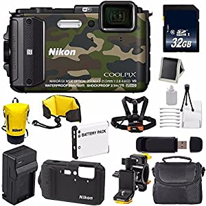Nikon COOLPIX AW130 Waterproof Digital Camera (Camouflage) (International Model No Warranty) + Nikon CF-CP002 Silicone Jacket (Black) + Nikon Waterproof Floating Strap + Waterproof Bag Bundle 24