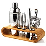 Cretee 10-Piece Cocktail Shaker Set with Stylish Bamboo Stand - Perfect Home Bartender Kit and Bar Tool Set (Bareware set)