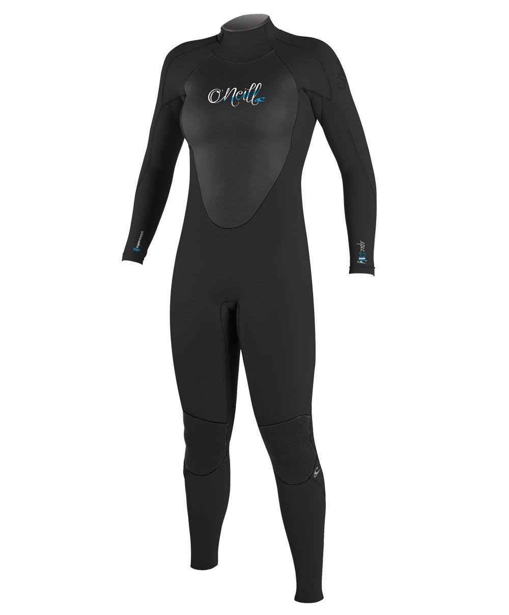 O'Neill Women's Epic 4/3mm Back Zip Full Wetsuit, Black/Black/Black, 8