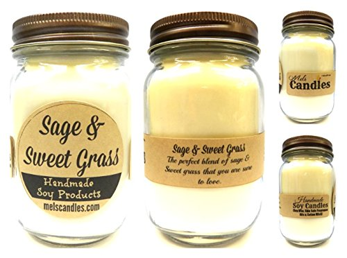 (Sage & SweetGrass - 16oz Country Jar Soy Candle - Handmade in Rolla MO - Novelty Candles)