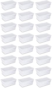 Sterilite 16428012 6 Quart White Storage Box (Pack of 24)