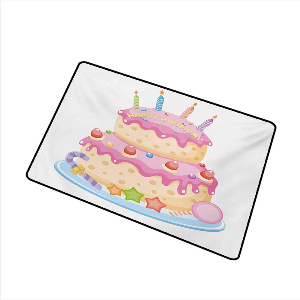 Amazon Washable Doormat Kids Birthday Pastel Colored Party Cake With Candles And Candies Celebration Image W16 XL20 Personality Garden