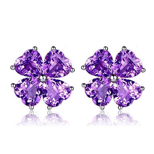 JiangXin Natural Amethyst 925 Sterling Silver Stud Earrings for Women Birthstone White Gold Plated Jewellery (Amethyst Flower Stud Earrings)