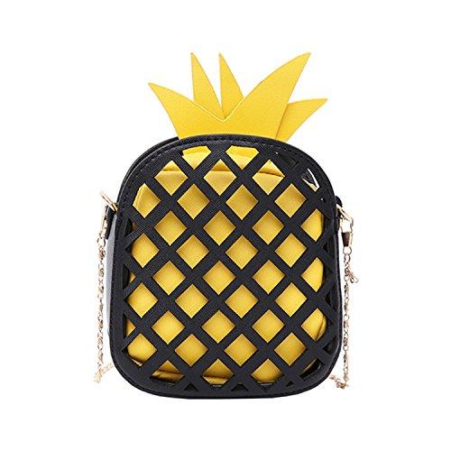 Availcx 2018 Bolso lindo de cuero de la marca para mujeres Bolso encantador de la piña Yellow Black
