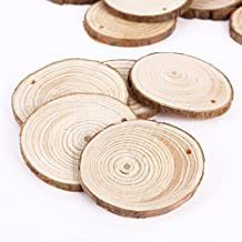 Surepromise 25Pcs 5Cm Wooden Wood Log Slices Discs Natural Tree Bark Table Decorative Wedding Centerpieces - Round