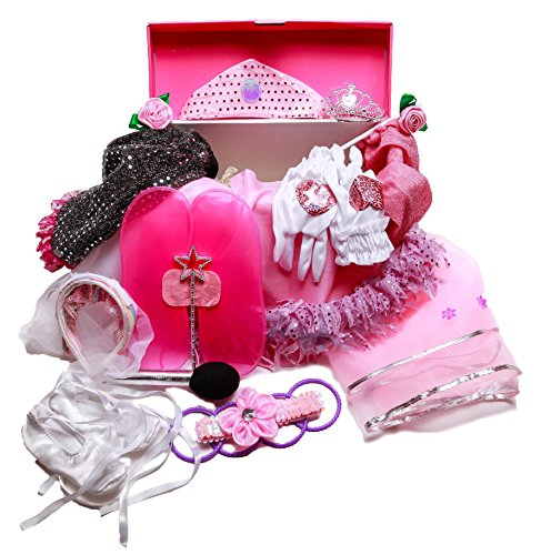 Girls Dress Up Set: Princess, Ballerina, Pop Diva, Bride, Fairy costumes for pretend (Princess Dress Up Trunk)