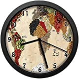 luckboy-zm Map of World Different Spices Design with Food Symbols Bohemian Style Artwork,Large Wall Clock Home Office School Wall Clock 10in(About 25CM)