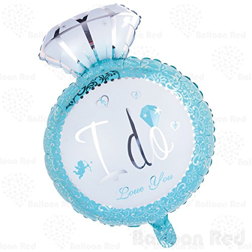 [Giant Diamond Engagement Ring Helium Foil Mylar Balloon for Wedding Proposal Bridal Shower Party, 29 Inch, Blue] (Blow Up Costumes From The 80's)