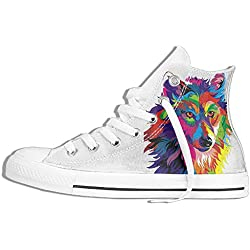 NAFQ Wolf Illustration Classic Canvas Sneakers Shoes Lace Up Unisex High Top