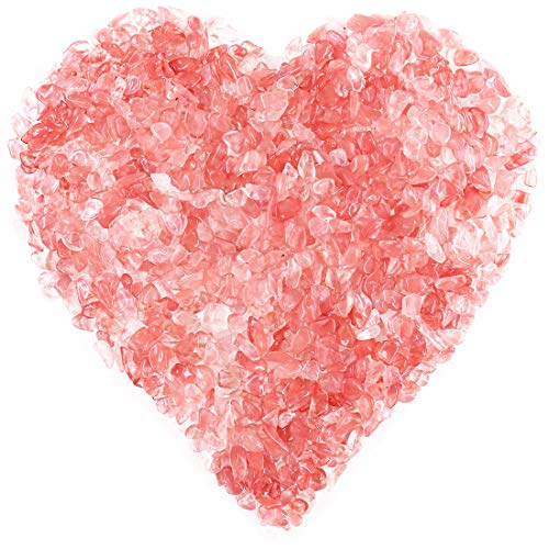 Hilitchi Cherry Quartz Tumbled Chips Stone Crushed Crystal Natural Rocks Irregular Shape Healing Home Indoor Decorative Stones for Vases Plants Succulents Garden (About 1.1lb/Bag)