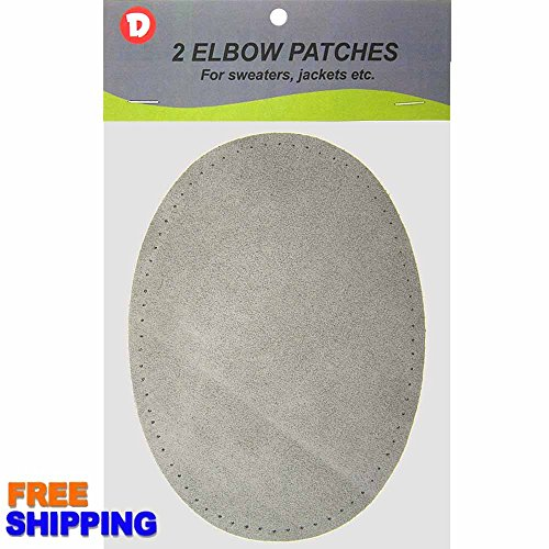 Two Large Sew-On Natural Suede Elbow Patches 4.75 in x 6.5 in - Lt. Grey