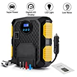 Auto Digital Tire Inflator Pump, Air Compressor Tyre Pump, 12V 150 PSI Tyre Pressure Gauge Fixed Value Auto Stop for Car Tyre, SUV, Truck, Basketballs, Bicycle, Motorcycle (7.8 x 6.3 x 3.1(inch))
