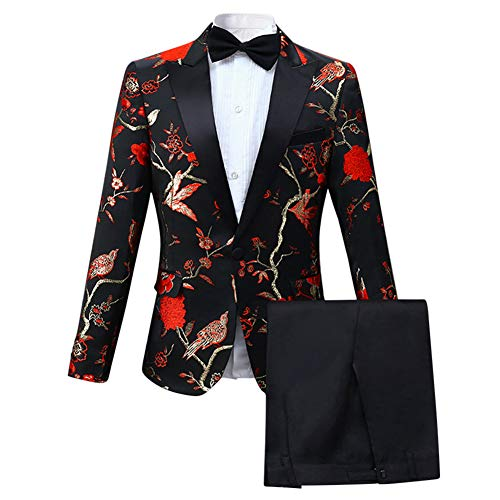 Cloudstyle Mens 2 Piece Floral Dress Suit One Button Dinner Tuxedo Jacket & Pants Red