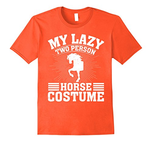Mens My Lazy Two Person Horse Costume Halloween Couple T-Shirts Large Orange